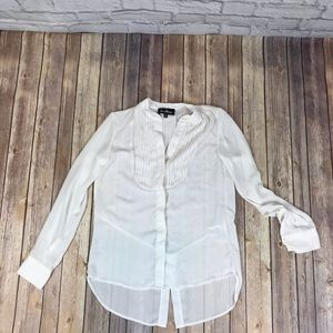 Sam Edelman Button Up Tab Collar Cream Blouse